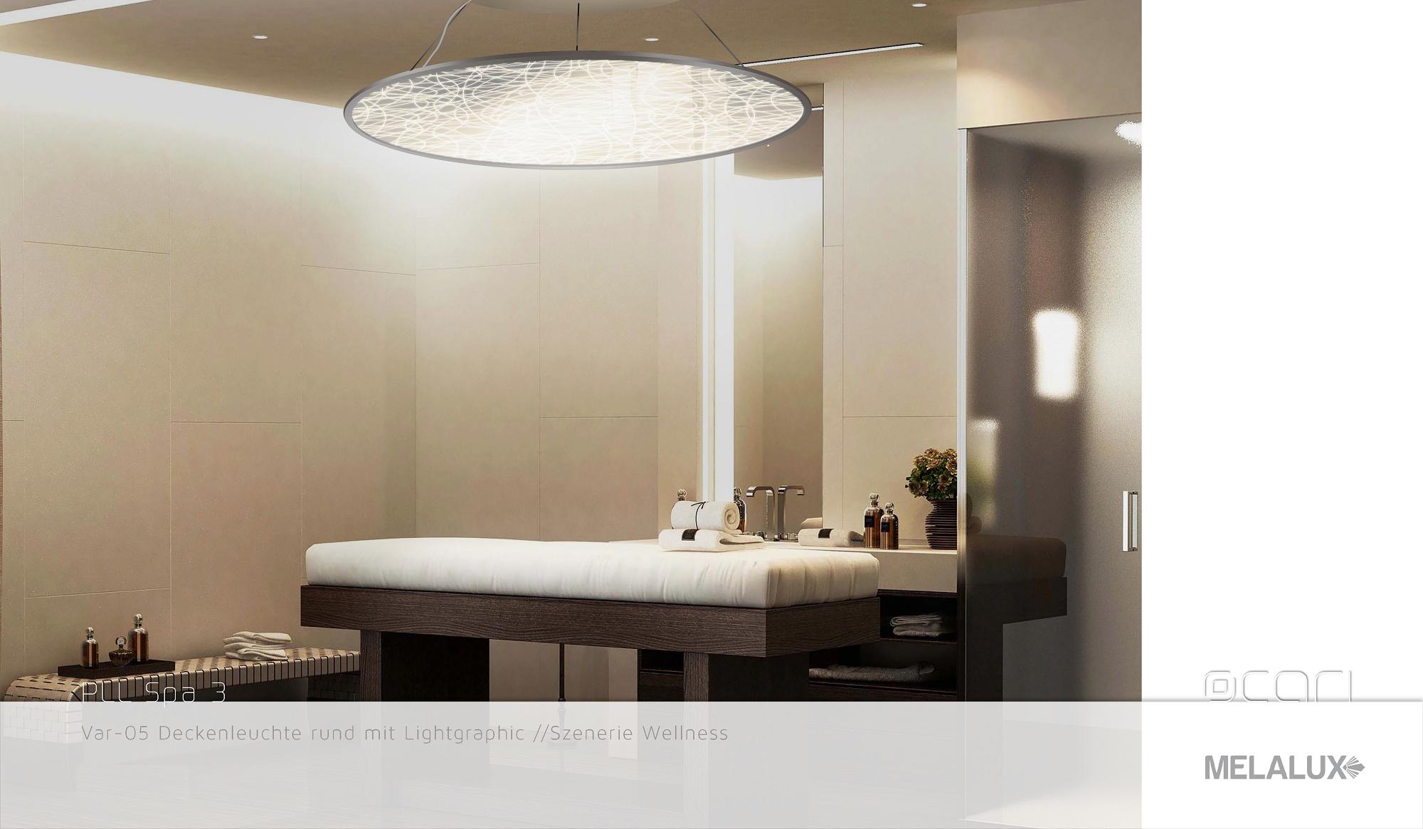 Runde Plexiglas Lichtleiterplatte mit verspielter Ocari-Struktur und hochwertigem Aluminiumspiegel.